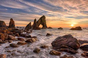 Бесплатные фото Crohy Head,DungloeMaghery,графство Донегал,Ирландия,закат,море,скалы