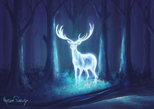 Фото бесплатно олени, свечение, фантастические существа