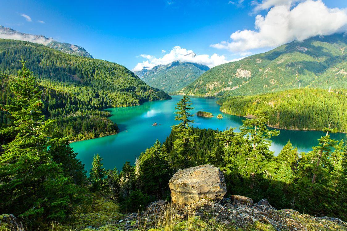 Фото бесплатно Озеро Диабло, Diablo Lake, Washington - на рабочий стол