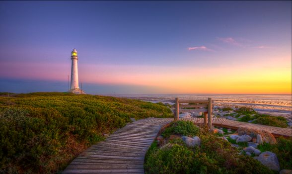Бесплатные фото Slangkop Lighthouse,Kommetjie,Маяк Слангоп,Кап-полуостров,Южная Африка,закат,пейзаж