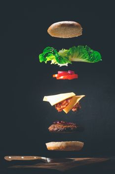 Photo free food, knife, hamburger