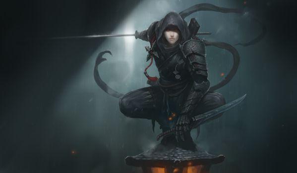Бесплатные фото Ниндзя,цифровое искусство,искусство фэнтези,меч,красные глаза,Ninja,digital art,fantasy art,sword,red eyes