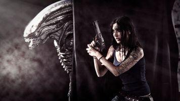 Бесплатные фото женщины,оружие,Xenomorph,фильм,Чужой