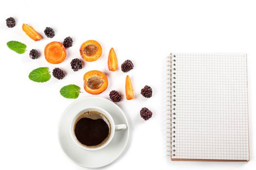 Photo free food, sheet of paper, coffee
