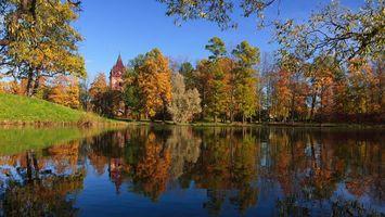 Бесплатные фото Россия,Пушкин,Осень,озеро,деревья,пейзаж