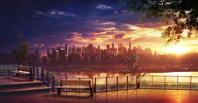 Photo free anime cityscape, skyscrapers, horizon