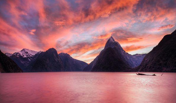 Photo free amber sky, lake, nature