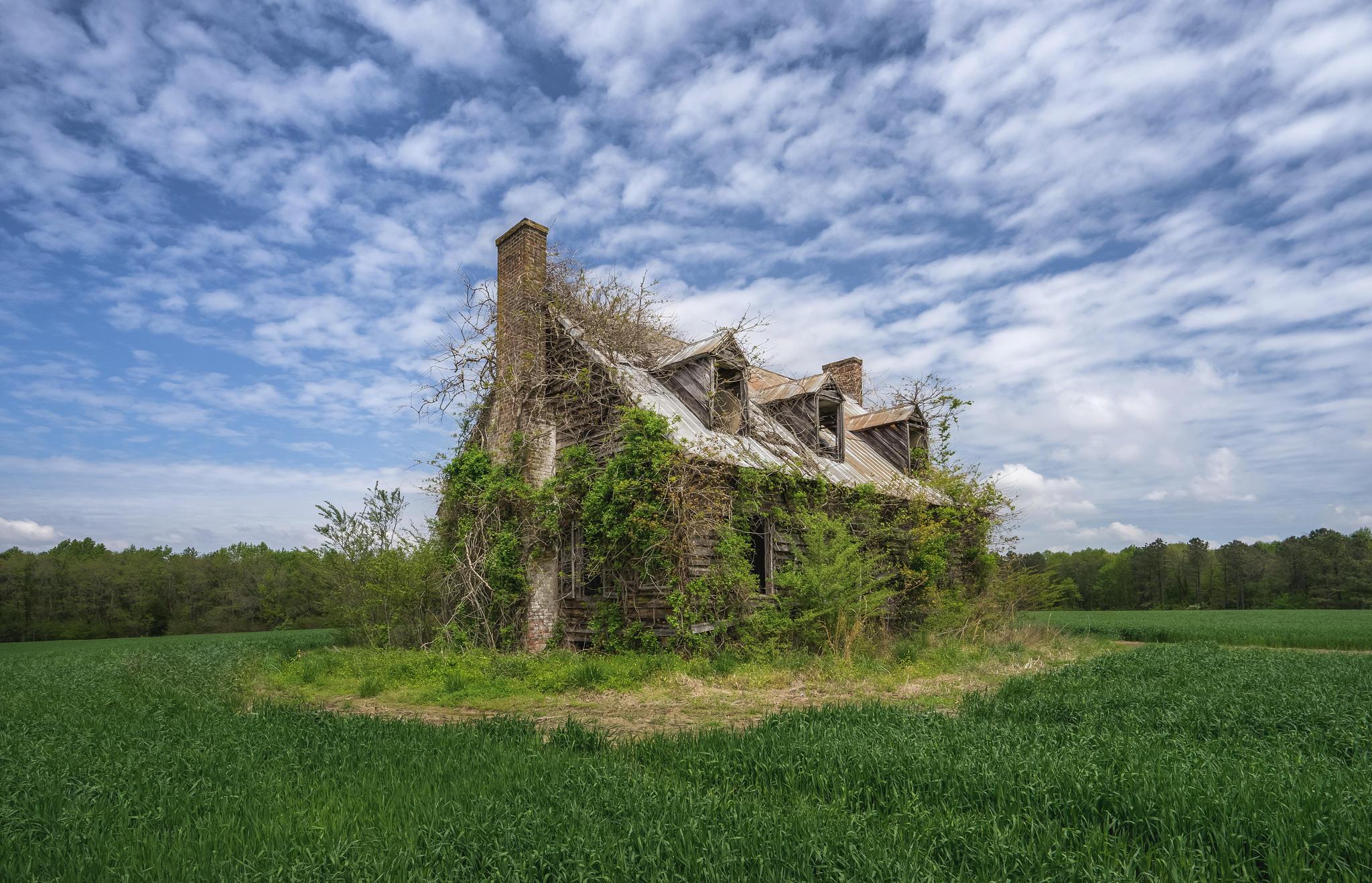 Обои поле, старый дом, руины, пейзаж