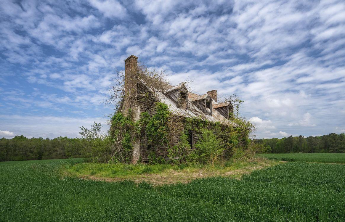 Фото бесплатно поле, старый дом, руины, пейзаж, пейзажи