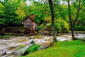 Бесплатные фото Полянка-Крик-Милл,Бэбкокский государственный парк,Западная Виргиния,Государственный парк Бэбкок,река,водяная мельница,деревья