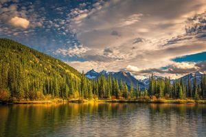 Бесплатные фото закат, горы, озеро, деревья, пейзаж