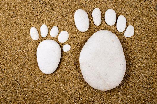 Photo free white stones, sand, footprints