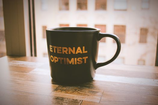 Photo free mug, inscription, optimism