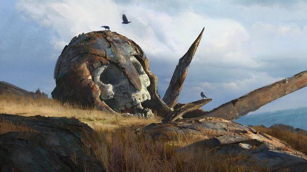 Фото бесплатно гигантский череп, ворон, тучи