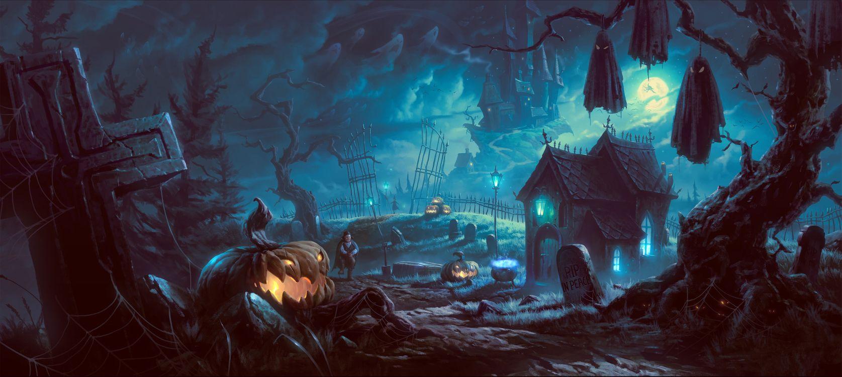 Фото бесплатно Хэллоуин, halloween, фантастика, фэнтези, фантасмагория, панорама, фантастика