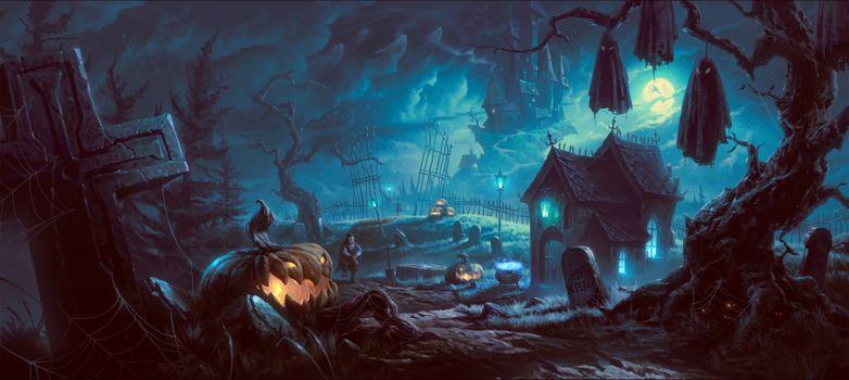 Фото бесплатно Хэллоуин, фантасмагория, панорама
