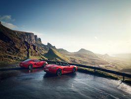 Фото бесплатно Porsche, мокрый асфальт, горы