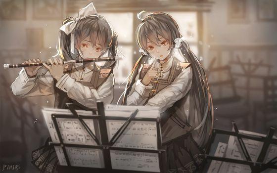 Фото бесплатно аниме девушки, флейта, инструмент
