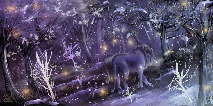 Фото бесплатно Лев, лес, зима