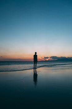 Photo free man, silhouette, sea