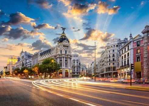 Фото бесплатно Мадрид, закат, здания