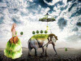 Бесплатные фото пустыня, девушка, слон, зонтик
