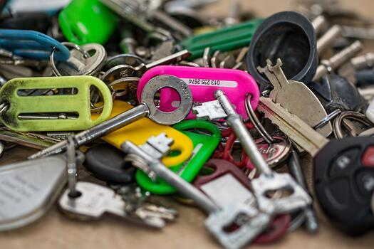 Photo free pile, key chain, keys