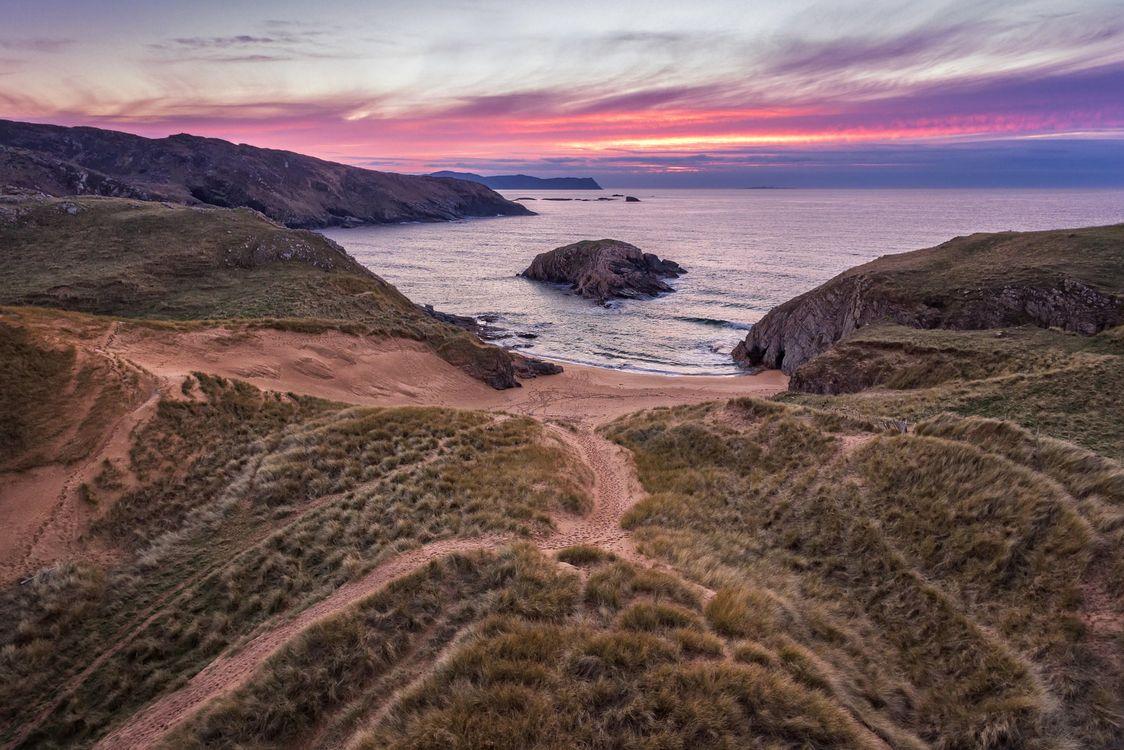 Фото бесплатно море, закат, берег, пляж, пейзаж, пейзажи