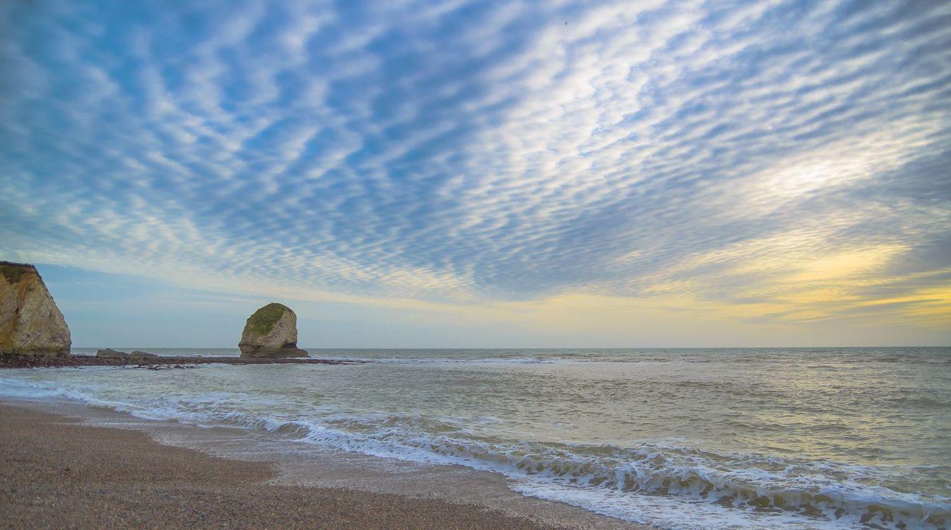 Картинка закат, море, берег, волны, пляж, пейзаж на рабочий стол. Скачать фото обои пейзажи