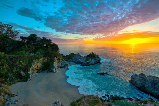 Фото бесплатно пляж, водопад, море