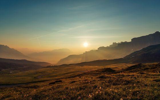 Фото бесплатно осень, трава, горы