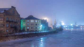 Обои Winter fog, St Petersburg
