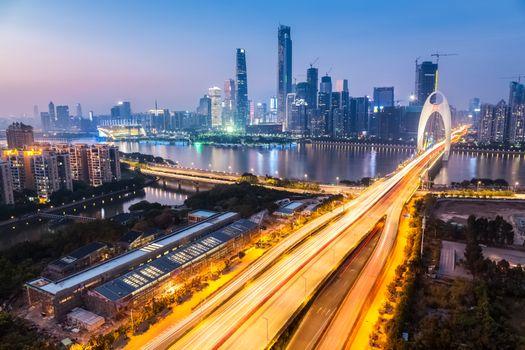 Заставки Гуанчжоу, Китай, мост