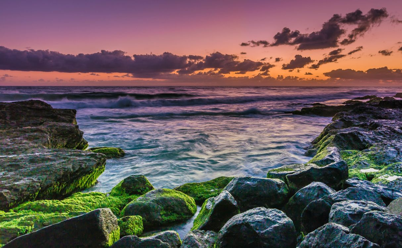 Фото закат море волны - бесплатные картинки на Fonwall