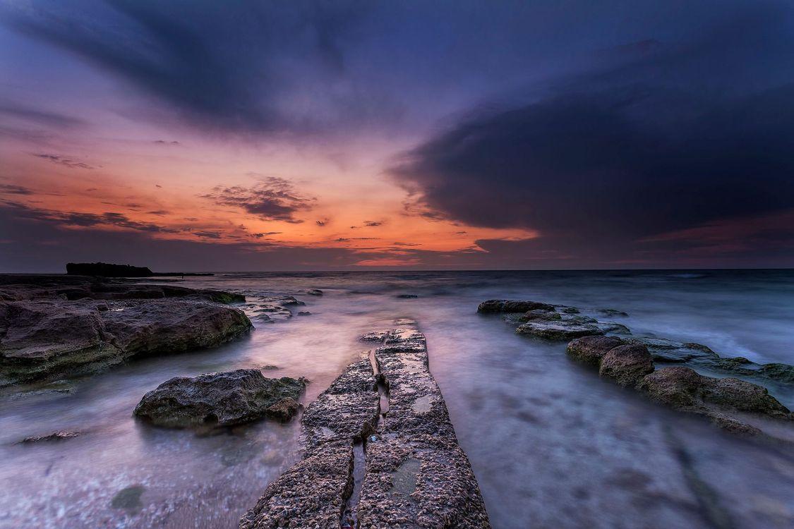 Фото бесплатно закат, море, берег, скалы, пейзаж, пейзажи