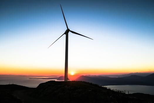 Фото бесплатно небо, закат, ветряная мельница