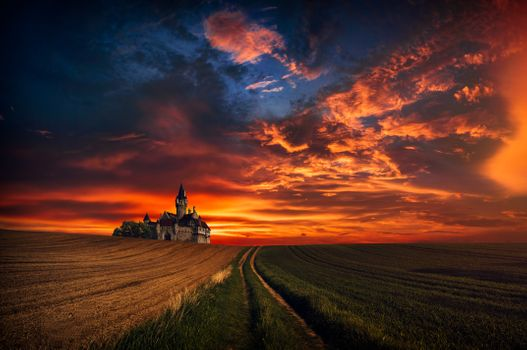 Photo free sunset, field, castle