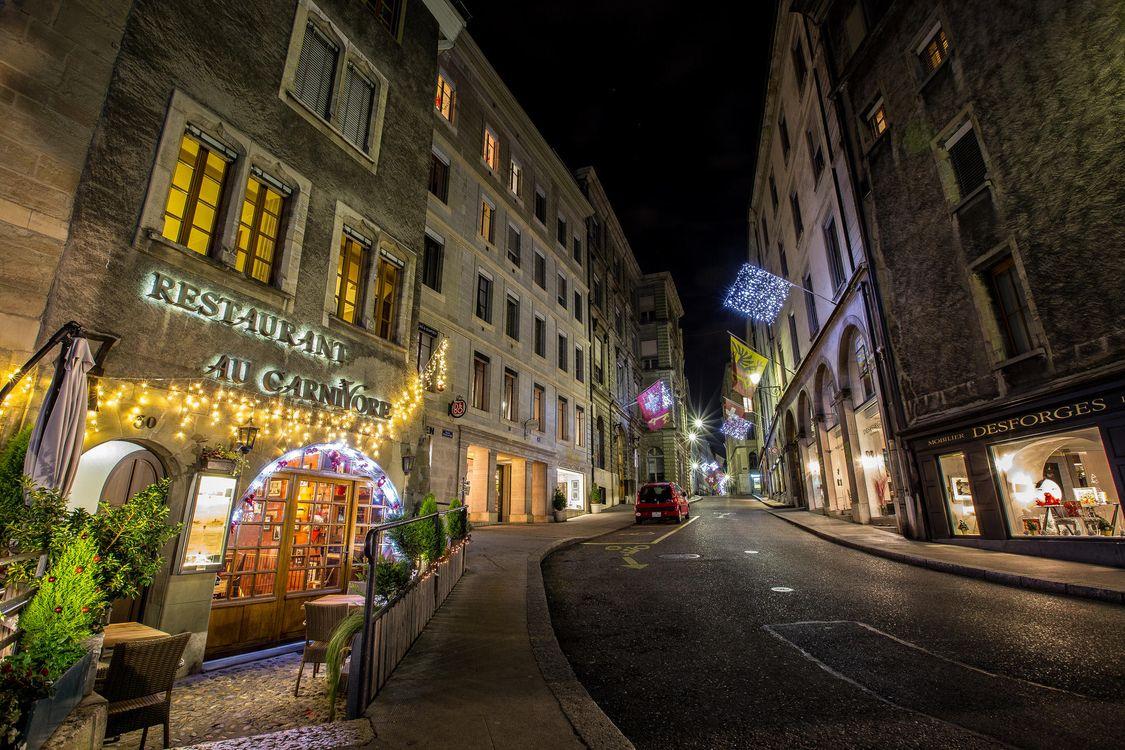 Фото бесплатно Женева ночью, Швейцария, город