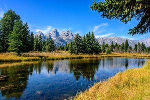 Бесплатные фото Grand Teton National Park,Wyoming,горы,река,деревья,пейзаж