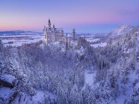 Бесплатные фото Германия,Европа,Bavaria,Нойшванштайн,Замок,Сказка