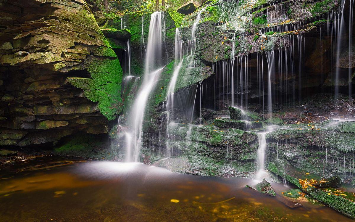 Free photo waterfall, rocks, pond, nature - to desktop