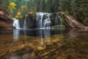 Заставки Lower Lewis River Falls, Washington река, водопад