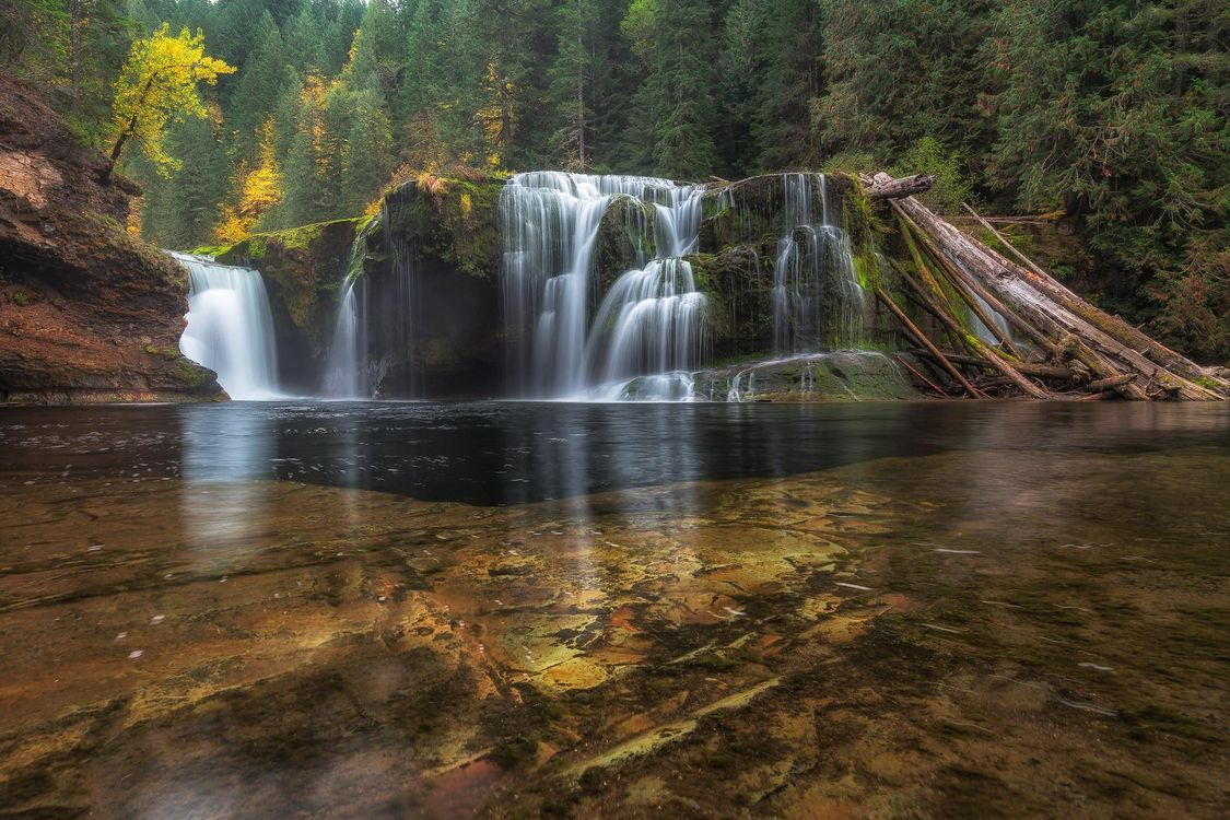 Фото бесплатно Lower Lewis River Falls, Washington река, водопад, осень, лес, деревья, пейзаж, пейзажи