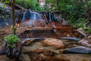 Бесплатные фото Водопад,скалы,камни,деревья,пейзаж