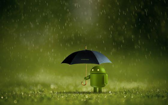 Фото бесплатно android, зонтик, газон
