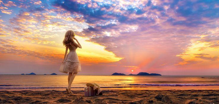 Фото бесплатно девушка, цифровое искусство, пляж