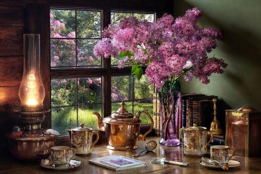 Фото бесплатно еда, цветы, парафиновая лампа