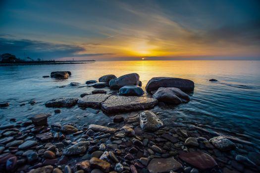 Photo free nature, sea, sunrise and sunset