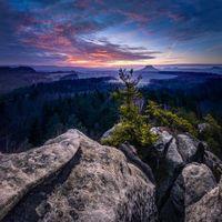 Бесплатные фото Саксония,Швейцария,с видом на Lilienstein,Кенингштайн,Rauenstein,закат,горы