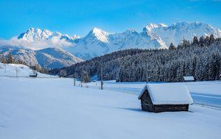 Бесплатные фото Горный хребет Карвендель,Миттенвальда,Верхняя Бавария,зима,снег,горы,деревья